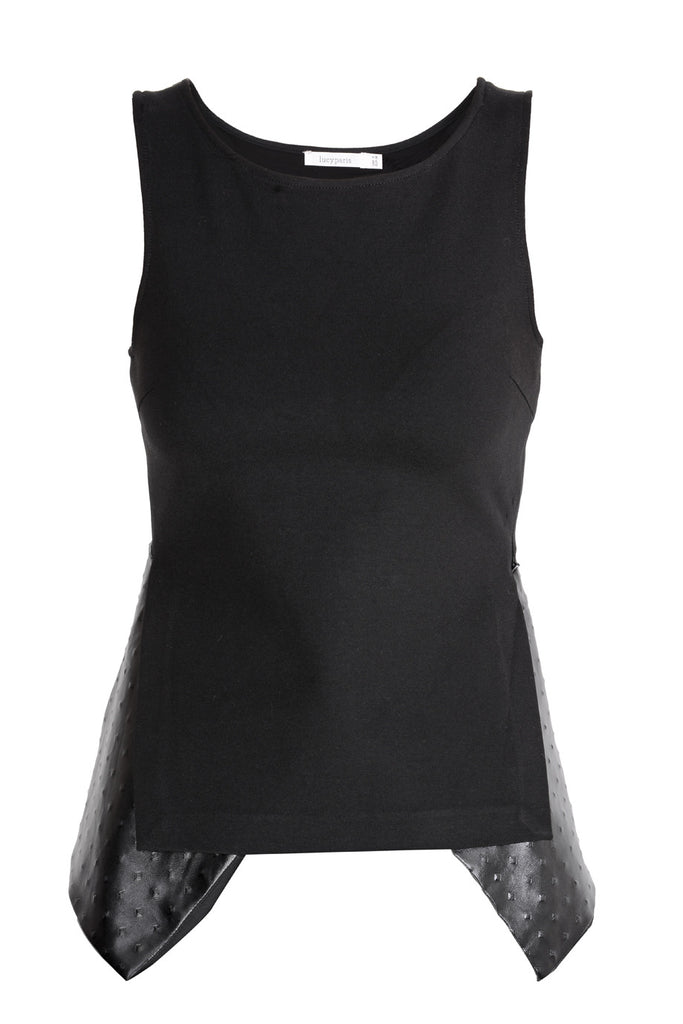 TAMY Black Leather Sleeveless Top