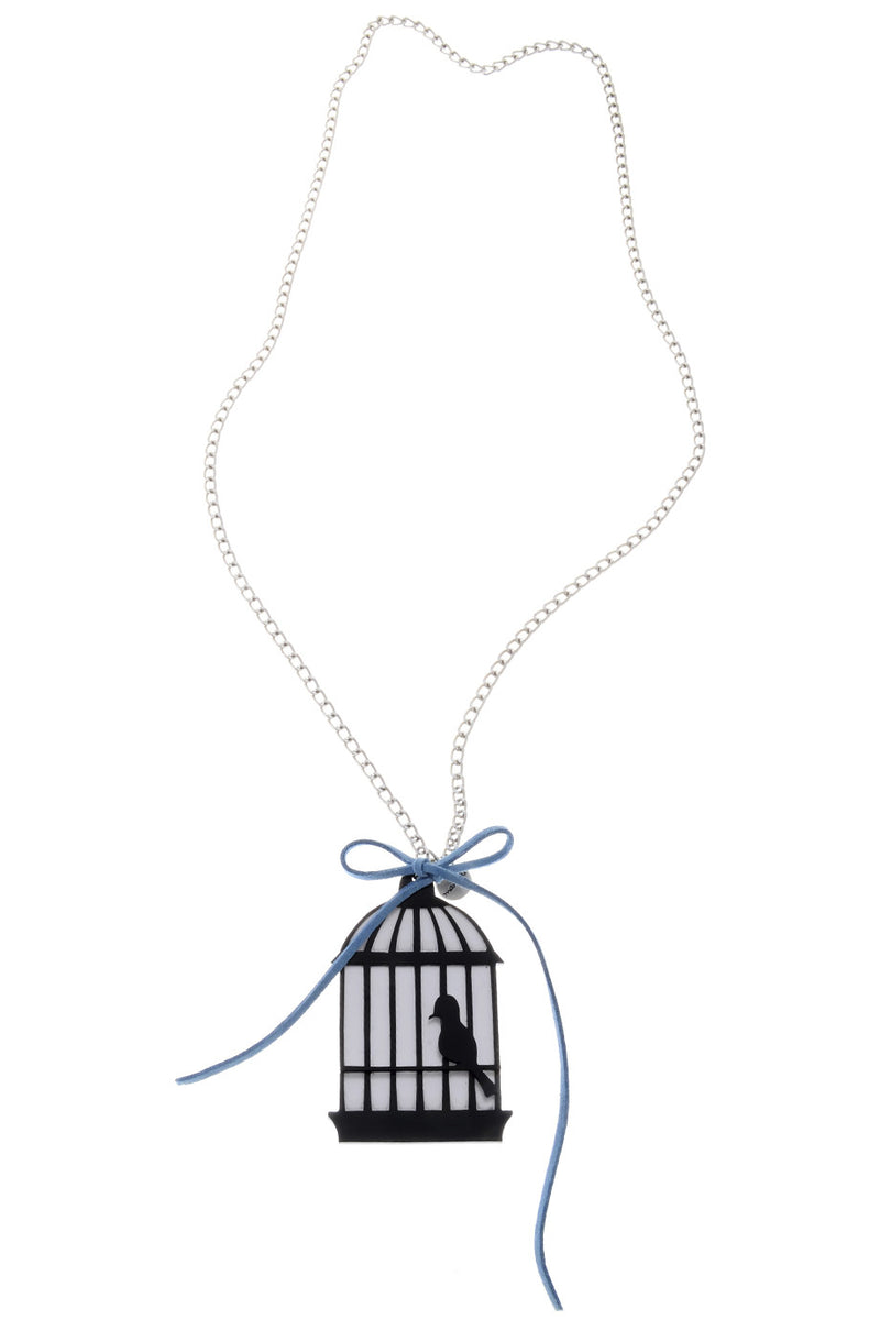 BIRD CAGE Black Silver Chain Pendant
