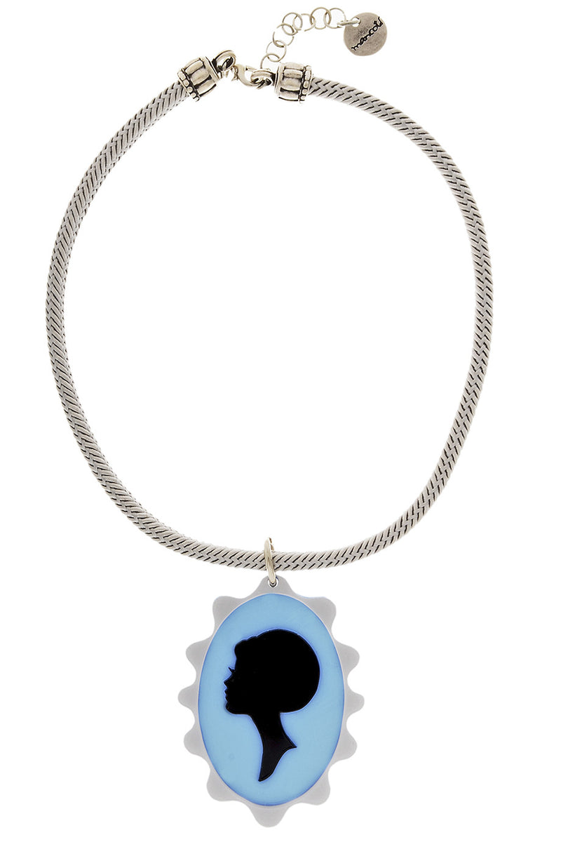 CAMAFEO Light Blue Silk Cord Pendant