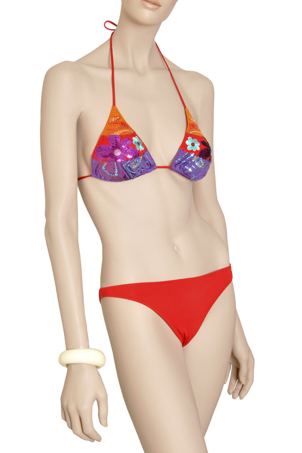 VERDE Sequin Flower Triangle Bikini
