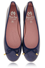 NAVY BLUE Leather Ballerinas