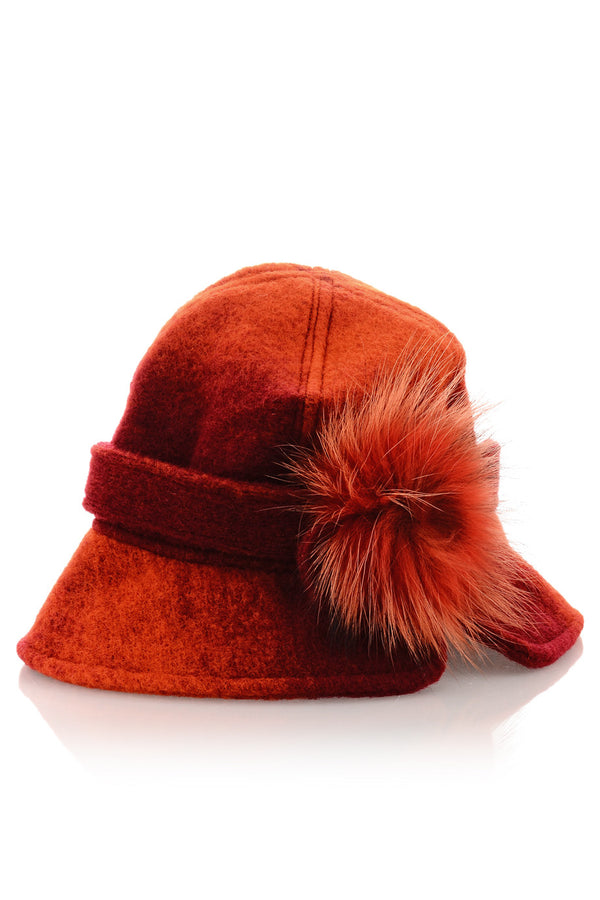 AVERY Red Ombre Felt Cloche Hat