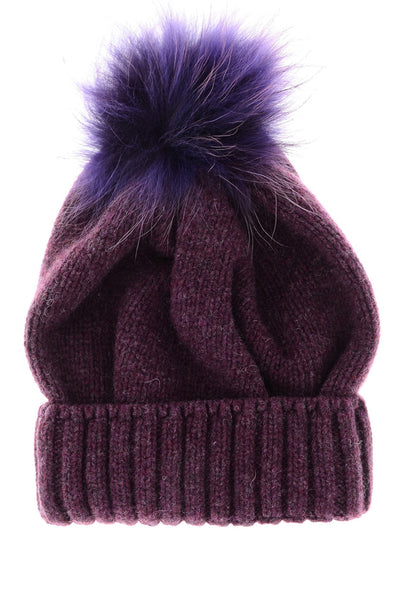FLUFFY Burgundy Knitted Fur Beanie