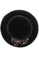 LANA Black Wool Fedora Hat