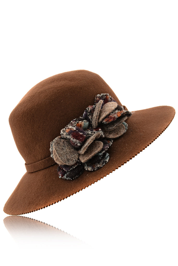 LANA Brown Wool Fedora Hat