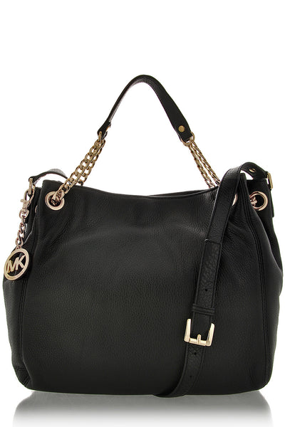 JET SET Black Leather Chain Bag
