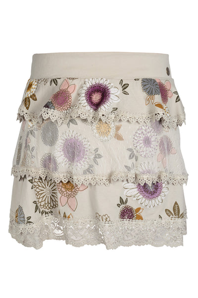 CELEBES Beige Lace Floral Skirt