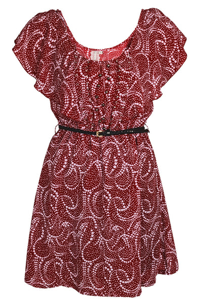 PALU Ruffled Burgundy Dress