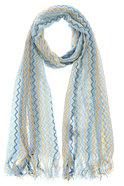CLARICE Zig Zag Cotton Knitted Woman Scarf