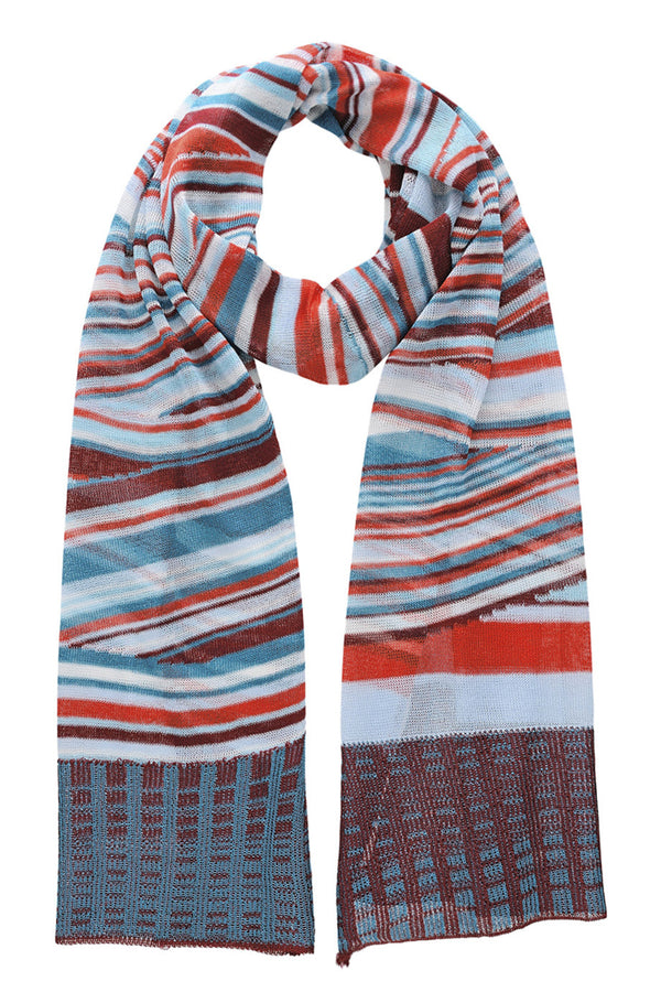 EDITH Indigo Red Viscose Knitted Woman Scarf