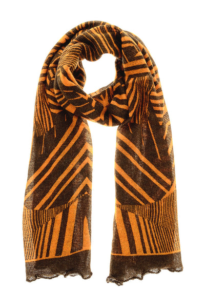 JUNGLE Orange Mohair Wool Unisex Scarf
