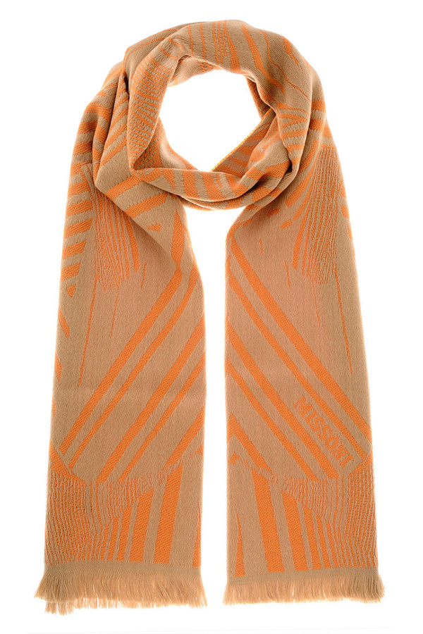 LION Orange Wool Woman Scarf