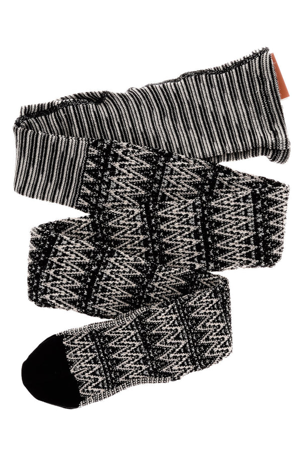 MISSONI WOOL BLEND Black White Striped Tights