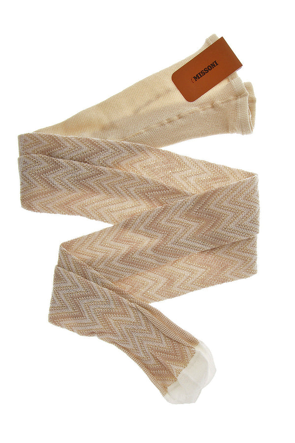 MISSONI ZIG ZAG Beige Woven Tights