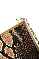 SHALI Brown Snake Skin Clutch