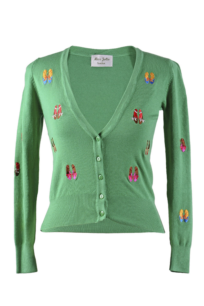 LONDON BALLERINA Green Fitted Cardigan