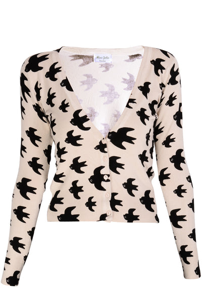 LONDON BLACK SWALLOWS Beige Printed Cardigan