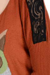 CUTE FOX Orange Long Sleeved Sweater