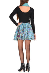 LONDON DISCO GIRL Metallic Multicolor Flared Skirt