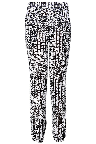 LONDON EWELINA Black White Printed Pants