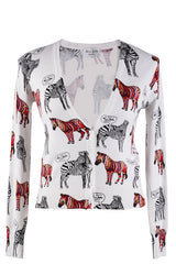 LONDON FUNKY ZEBRAS White Printed Jumper