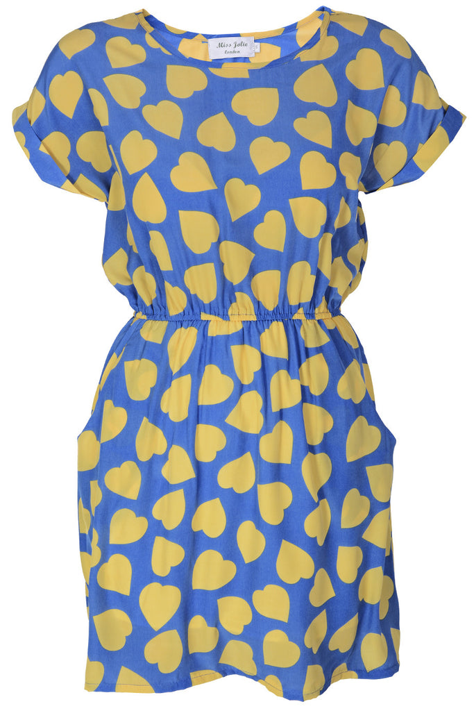 LONDON LUVINA Sky Blue Printed Heart Dress