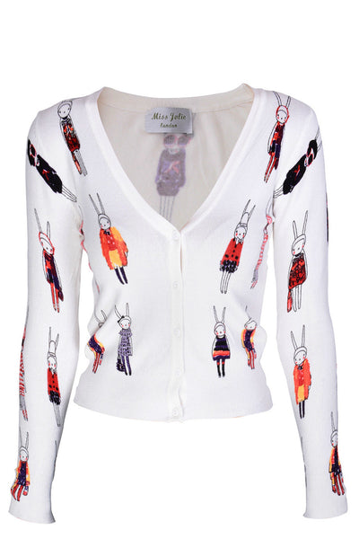 LONDON MISS RABBIT White Printed Cardigan