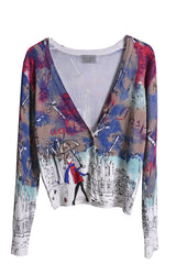 LONDON RAINY GIRL Multicolor Printed Cardigan