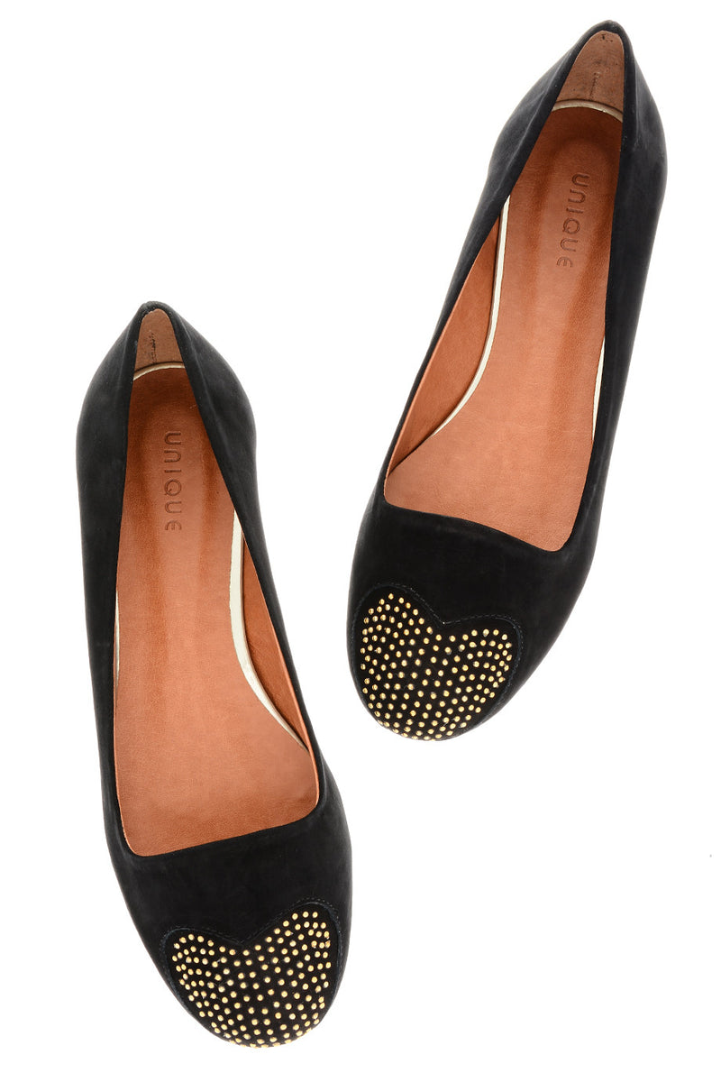 LOVE ME Black Studded-Toe Ballerinas