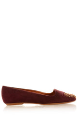 LOVE ME Bordeaux Studded-Toe Ballerinas