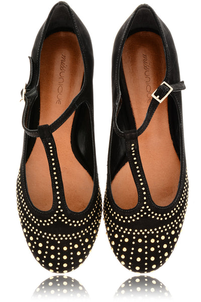 SABILE Black Studded Ballerinas