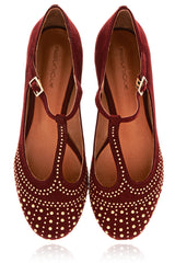 SABILE Bordeaux Studded Ballerinas