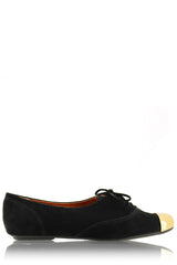 ESTER Black Lace Up Flats