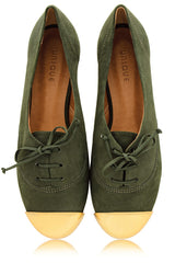 ESTER Olive Lace Up Flats