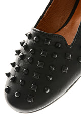 SPIKES Black Leather Slipper Shoes