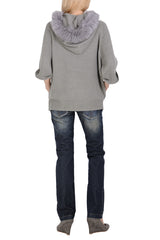 FELICIA Grey Fur Hooded Cardigan