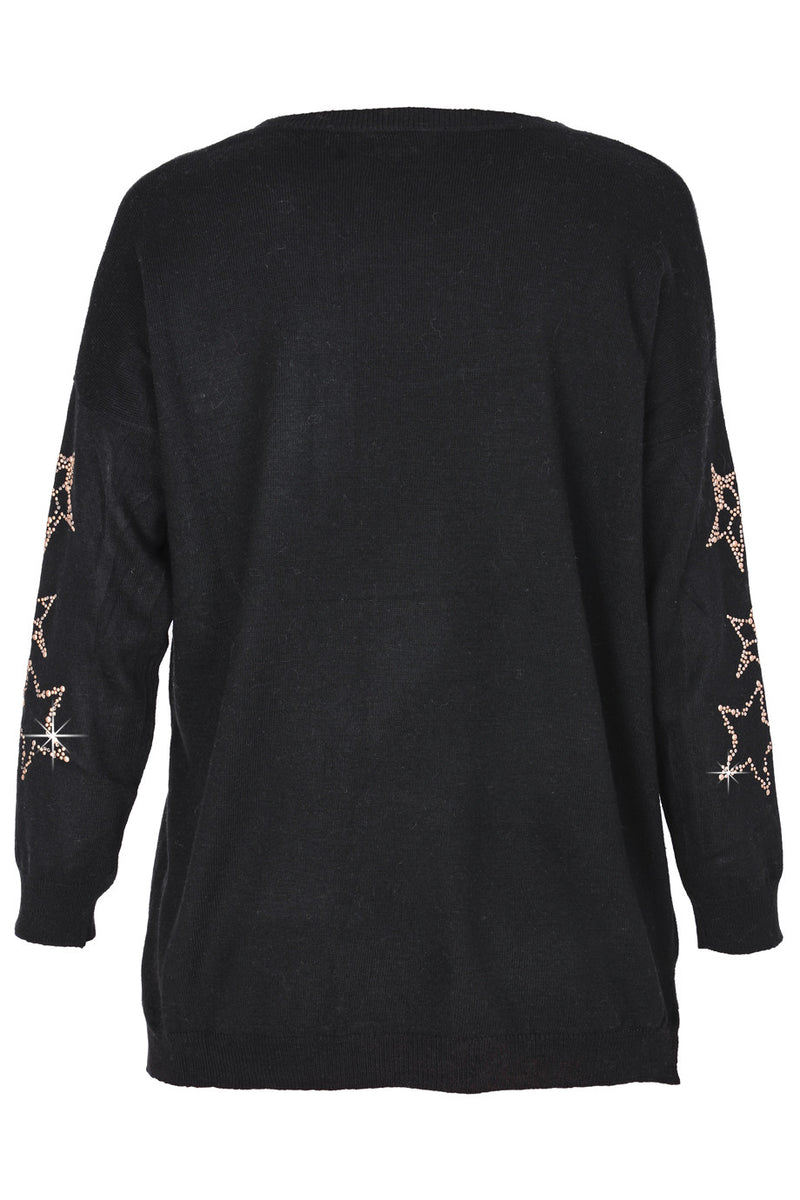 GALIENA Black Studded Jumper