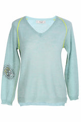 HELMA Light Blue Crystal Skull Jumper