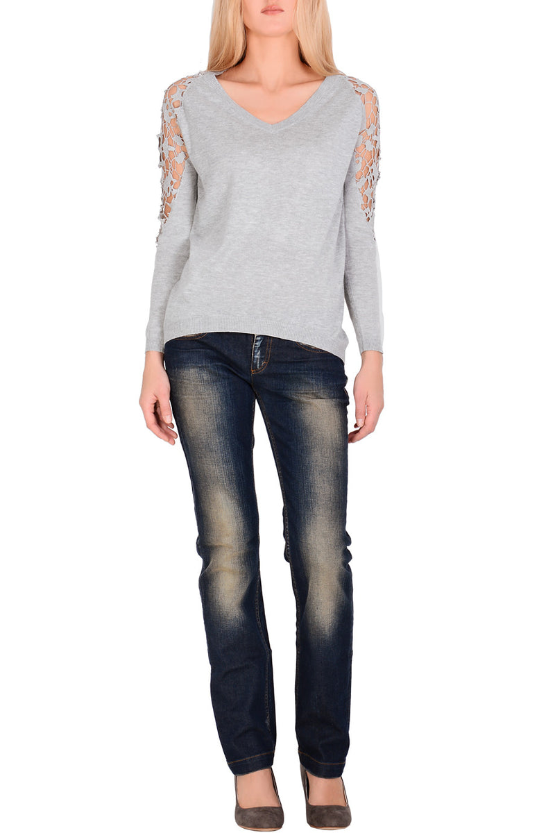 INES Light Grey Lace Jumper