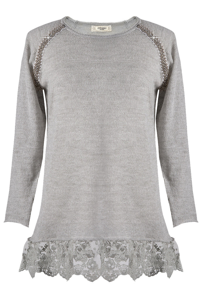 LEANDER Grey Lace Long Blouse