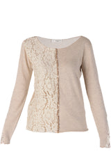 LUNA Beige Lace Sequin Blouse