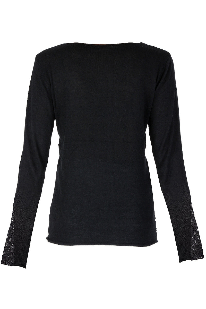 LUNA Black Lace Sequin Blouse