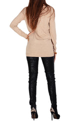 PHILLIPA Beige Lace Crystal Jumper