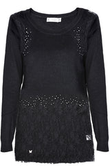 PHILLIPA Black Lace Crystal Jumper
