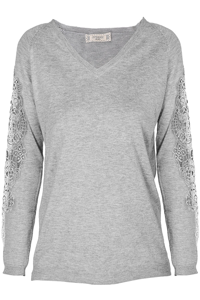 SIBILA Grey Lace Sleeved Sweater