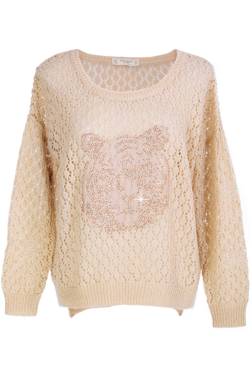 SWEET TIGER Beige Crystal Embellished Jumper