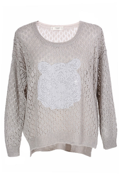 SWEET TIGER Grey Crystal Embellished Jumper