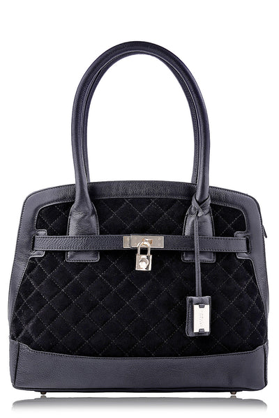 KRISTEN Black Quilted Tote