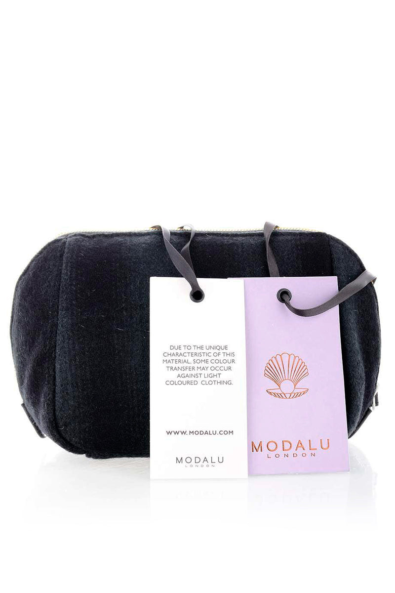 MODALU Woman Wool Clutch - EMMA Charcoal Woman Wool Clutch
