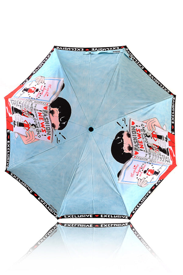 OLIVE OYL Light Blue Fashion News Printed Umbrella